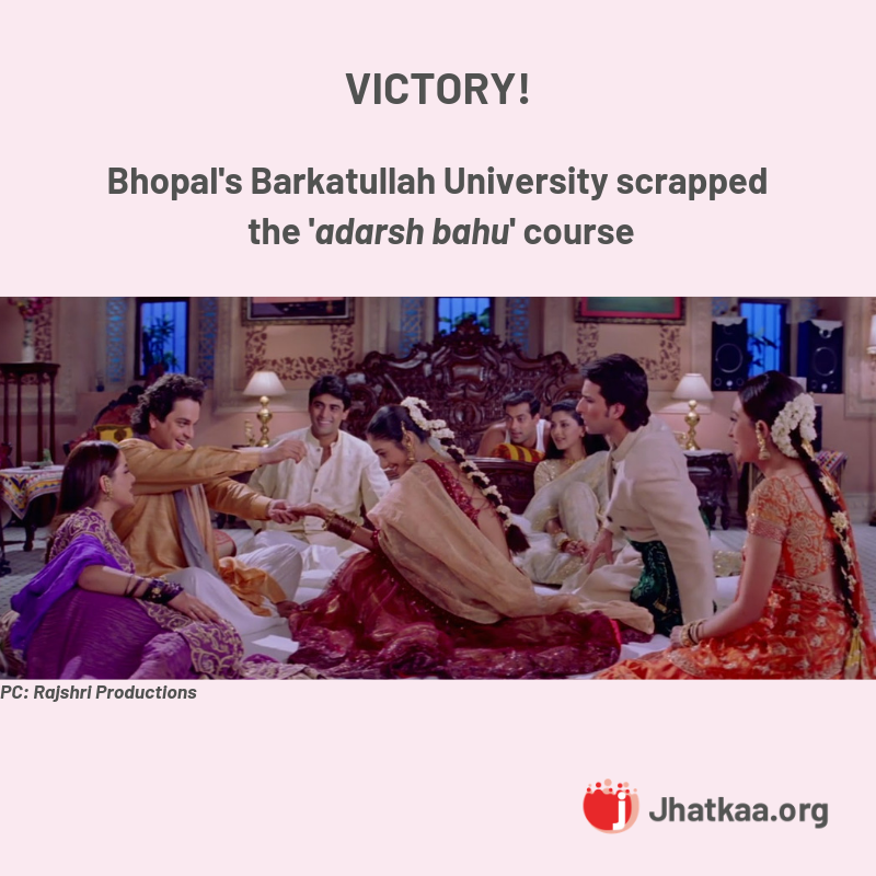 Ask Barkatullah University To Scrap Adarsh Bahu Course
